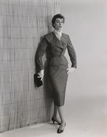 Woman in tweed suit made of Orlon