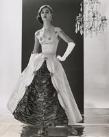 Woman wearing evening gown made with Orlon and silk
