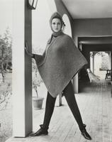Woman modeling knit cape made with Orlon