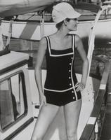 Woman wearing bathing suit made with Orlon, Lycra, and nylon