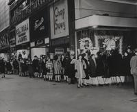 Women line up for nylons