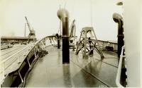On deck, ship's bell shown in image during outfitting of Nantucket Shoals, Hull #431, Contract 1078
