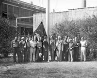 Pusey and Jones shipyard employees during flag raising of minute man flag