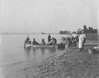 Row boats leaving shore during Pusey and Jones Company picnic