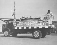 Pusey and Jones truck decorated for Victory Parade
