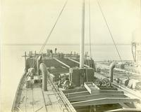 Ship outfitting, looking aft, at Gloucester, N.J. shipyard