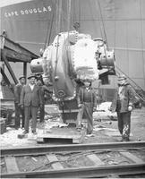 Lifting turbine onboard during outfitting of the Cape Douglas #1088