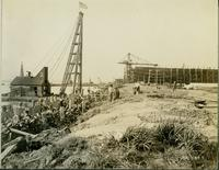 Construction with pile drivers at Gloucester, N.J. shipyard