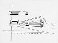 Drawing of shelter at Pennsylvania station at Edgewood, Maryland designed by Raymond Loewy