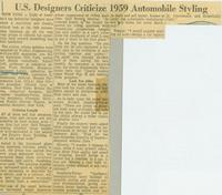 U.S. Designers Criticize 1959 Automobile Styling