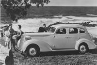 Loewy-designed automobile at seaside