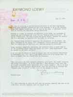 Draft Of Raymond Loewy Letter to Be Included With Portfolio