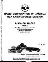 Annual Report, RCA Laboratories Research Department [1952]