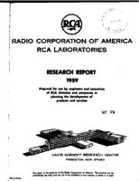 Annual Report, RCA Laboratories Research Department [1959]