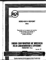 Annual Report, RCA Laboratories Research Department [1951]