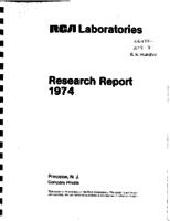 Annual Report, RCA Laboratories Research Department [1974]