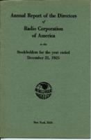 Annual Report of the Directors of Radio Corporation of America to the Stockholders for the Year Ended December 31, 1925