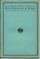 Eighteenth Annual Report of Radio Corporation of America Year Ended December 31, 1937