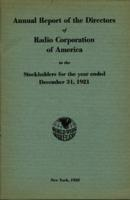 Annual Report of the Directors of Radio Corporation of America to the Stockholders for the Year Ended December 31, 1921
