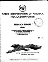Annual Report, RCA Laboratories Research Department [1960]