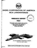 Annual Report, RCA Laboratories Research Department [1962]