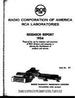 Annual Report, RCA Laboratories Research Department [1954]