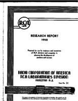 Annual Report, RCA Laboratories Research Department [1950]