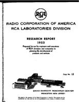 Annual Report, RCA Laboratories Research Department [1953]