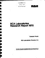Annual Report, RCA Laboratories Research Department [1970]