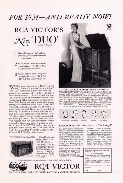 For 1934 and Ready Now! RCA Victor's New 'Duo' | Hagley