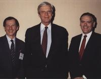 Seth Bloomfield and Bert Roberts with George Plimpton at MCI International Sales Conference