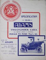 Specification of the 12-14 H.P. Adams Two-Cylinder Cars