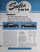 Sales Facts : Compare the 1949 Oldsmobile Futuramic Model 98 with Two Greater Values -- the Hudson Commodore Six and Eight