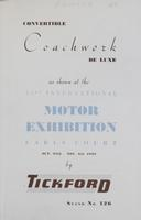 Convertible Coachwork De Luxe as Shown at the 33rd International Motor Exhibition, Earls Court, Oct. 27th-Nov. 6th, 1948 by Tickford : Stand No. 126