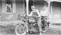 Howard Ellsworth Seal, Jr. and Lewis Welch on Harley Davidson motorcycle at Locust Knoll Farm