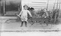 Edward and Thurley Welch playing with Keystone Express wagon