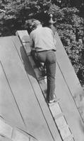 Man on roof of Howard E. Seal's house (Chadds Ford, Pa.)