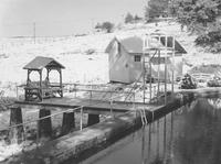 Rocky Hill Farm swimming pool and bath house in the snow