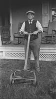 Howard Ellsworth Seal, Sr. with lawn mower
