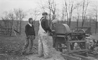 Wood sawing operation at Locust Knoll Farm