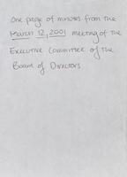 Board of Directors [December 12, 2000] and Executive Committee minutes [March 12, 2001]