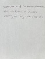 Board of Directors minutes [May 1, 2001] continuation 1