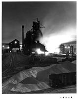 Blast furnace tap at night, Republic Steel Corporation (Gadsden, Ala.)