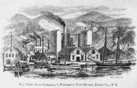 Illustration of Bay State Iron Company's Furnaces (Port Henry, N.Y.)