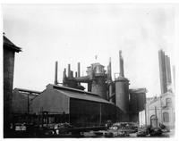 Iron shell open top blast furnaces with three pass stoves