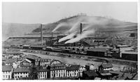 Blast furnaces and mill buildings with rail lines, Lower Works, Cambria Iron Works (Johnstown, Pa.)