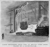 Ladle containing fifty tons of molten steel being placed on a conveying-car