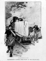Engraving showing steel ingots being transported to rolling mill