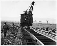Laying rail for Santa Fe Railway
