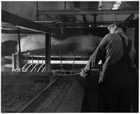 Carbon wires leaving furnace, South Works, American Steel & Wire Company (Worcester, Mass.)